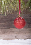 Hanging Red Christmas Ball Royalty Free Stock Images