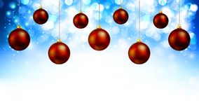 Hanging red Christmas balls on a shiny blue background bokeh. Vector art illustration Royalty Free Stock Photos