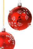 Hanging Red Christmas Baubles Stock Image
