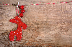 Hanging red christmas deer Stock Photography