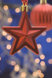 Hanging red Christmas star Royalty Free Stock Photo