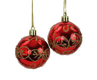 Hanging Red and Gold Christmas Tree Balls Stock Photos