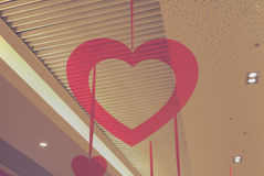 Hanging red heart. Hanging from the ceiling red heart stock image