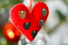 Hanging red heart ornament Royalty Free Stock Photo