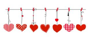Hanging red hearts vector. Happy valentines day greeting card. Background Royalty Free Stock Photos