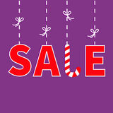 Hanging red text Dash line with bow. Sale Candy cane banner, advertising poster. Winter Merry Christmas season offer. Flat design. Stock Image