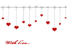 Hanging red valentine hearts Stock Image