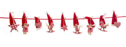 Hanging red white checked christmas decoration isolated on the b Royalty Free Stock Image