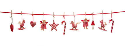 Hanging red white checked christmas decoration isolated on the b Royalty Free Stock Photography