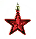 Hanging Red Xmas Star Stock Photo