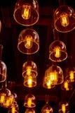 Hanging retro light bulbs. Hanging retro warm light bulbs royalty free stock photo
