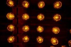 Hanging retro light bulbs. Hanging retro warm light bulbs stock image