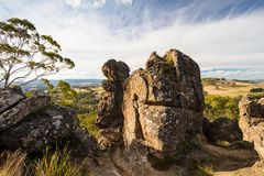 Hanging Rock in Macedon Ranges. The popular tourist attraction of Hanging Rock. A volcanic group of rocks atop a hill in the Macedon ranges, Victoria, Australia Stock Photos