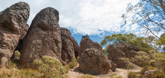 Hanging Rock, Mount Macedon Ranges. Site of the famous Picnic at Hanging Rock film which documents the mystery disappearance of several college school girls in Royalty Free Stock Photo