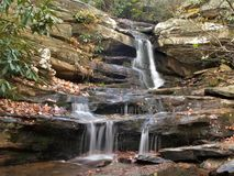 Hanging Rock State Park. Hidden Falls at Hanging Rock State Park in North Carolina is the smallest of the waterfalls in the park and is easily accessed from a Royalty Free Stock Photo