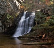 Hanging Rock State Park. Lower Falls at Hanging Rock State Park in North Carolina drops 35 feet and is easily accessed from a short trail Royalty Free Stock Photos