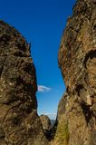 Hanging Rocks,Macedon ranges. Hanging Rocks, Macedon ranges in Victoria,Australia against a blue sky Royalty Free Stock Photography