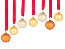 Hanging row of christmas  balls Stock Photo