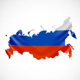 Hanging Russia flag in form of map. Russian Federation. National flag concept. Vector illustration Royalty Free Stock Photography