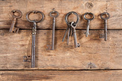 Hanging rusty keys Stock Photography