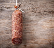 Hanging salami sausage Royalty Free Stock Image
