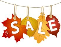 Hanging  sale with autumn leaves Royalty Free Stock Images