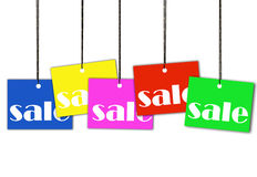 Hanging sale tags with clipping path Stock Photo