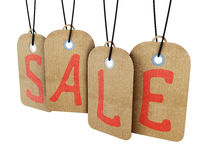 Hanging sale tags labels isolated on white background. 3d. Stock Photos