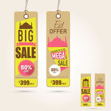 Hanging Sale tags on occasion of Eid Mubarak festival celebration. Stylish hanging tags of Big Sale with discount offer on occasion of Islamic festival, Eid stock illustration