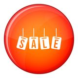 Hanging sales tags icon, flat style Royalty Free Stock Photo