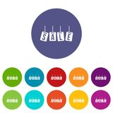 Hanging sales tags set icons Royalty Free Stock Photography