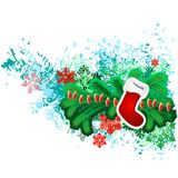 Hanging Santa sock with Christmas decorations Stock Images