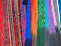 Hanging scarfs Stock Photo
