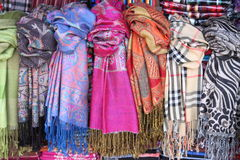 Hanging scarves stock photography