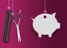 Hanging Scissors Comb Purple Piggy Bank Stock Photo
