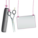 Hanging Scissors Comb Rectangle Banner Royalty Free Stock Image