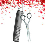 Hanging Scissors Comb Red Percents. Hanging hairdresser tools with red percents confetti on the white background Stock Images