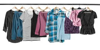 Hanging shirts isolated stock images