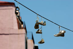Hanging shoes 2 Stock Photography