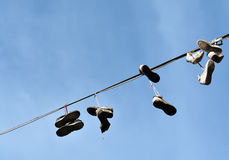 Hanging Shoes Royalty Free Stock Photo