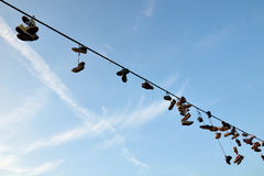 Hanging shoes Stock Image
