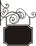 Hanging sign. With wrought iron ornaments, vector series Stock Photography