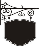 Hanging sign. With wrought iron ornaments, vector series royalty free illustration