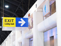 Hanging sign box of exit wording from exhibition place to lobby Stock Images