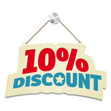 Hanging sign with inscription 10% discount. On white background. Vector illustration Royalty Free Stock Photo