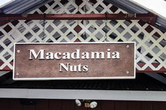 Hanging Sign at the Tropical Farms Macadamia Nut Outlet Stock Photos