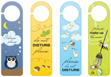 Hanging signs for children Do not disturb royalty free illustration