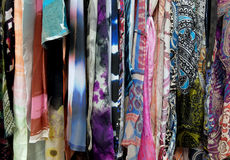 Hanging Silk and Rayon Fabrics Stock Photography