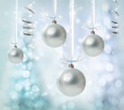 Hanging Silver Christmas Ornaments Royalty Free Stock Images
