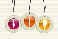 Hanging silverware sign icons labels set Stock Photography